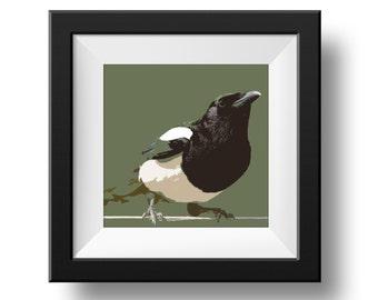 Magpie Printable Square Original Artwork