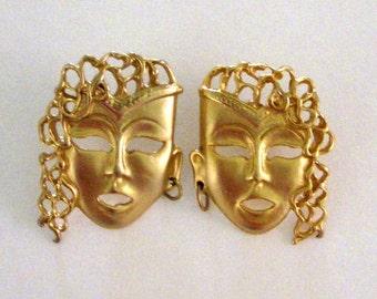Vintage 80s Face Earrings - Gold Tone 1980s Womans Face Earrings - Avant Garde Sculptural Mask Earrings
