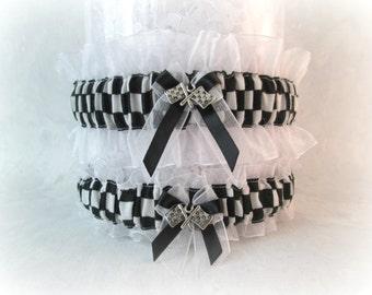 Racing wedding garter set - Racing Checkered flag Garters - Racing Garters Wedding - Wedding Garters