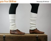 CLEARANCE SALE Upcycled Recycled Repurposed Sweater Leg Warmers Boot Cuffs White Ballet Dance Yoga