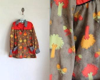 vintage girl's novelty print dress - ACORN TREE tunic top / 7x