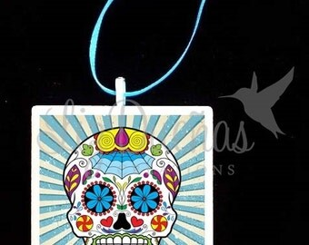 2x2 Ceramic Tile Ornament - Dia de Los Muertos-Day of the Dead Sugar Skull (SSO9) Ready to Ship