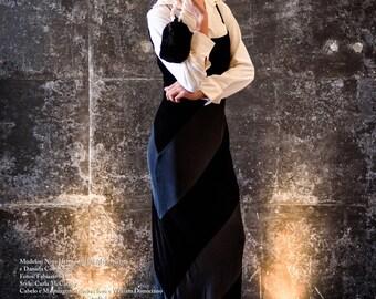 EMANUEL UNGARO BLACK Silk & Velvet Paneled Evening Gown Dress