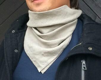 Men's linen bandana, natural gray unisex neck warmer, pure linen square scarf, women's kerchief, gift for him, for her