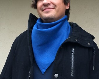 Blue men's scarf, pure linen unisex bandana, square women's kerchief, summer fashion accessory, gift for her or him, choose your color