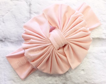 Messy Bow Head Wrap in Blush Pink Cozy Cotton