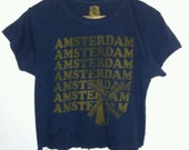 Amsterdam T Shirt / Crop Top /Cropped/ Half Tee / Graphic Shirt / Indie / Grunge / Rock N Roll / Music Festival / Distressed / Dark Blue Tee