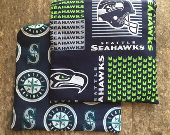 Reusable Sandwich Bags, Set of Two Reusable Sandwich Bags, Seattle Sports Sandwich Bags, Seahawks Sandwich Bag, Mariners Sandwich Bag
