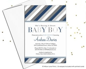 boy baby shower invitations printable or printed - navy gray invites, modern baby shower invitations boy - WLP00775