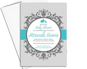 Gender neutral baby shower invite | bunny baby shower invitation | gray turquoise polkadots, DIY printable or printed - WLP00790