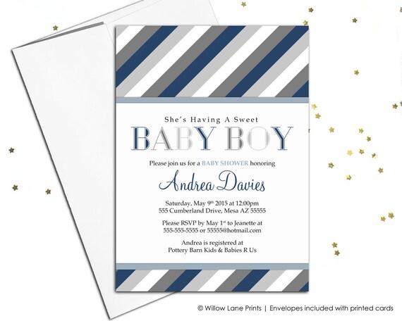 boy baby shower invitations printable or printed - navy gray invites (775)