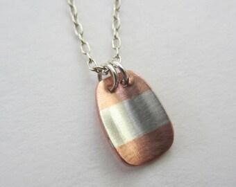 On Sale Striped Pendant silver copper modern artisan handmade