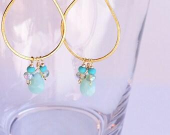 Amazonte Teardrop Earrings, Light Blue Earrings, Blue Drop Earrings, Faceted Briolette Earrings, Gold Hoop Boho Earrings