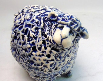Blue and White Sheep Sculpture -  Pottery Animal - Hand Built Animal - Nativity Animal - Lamb Figurine - Farm Animal - Pinch Pot