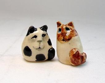 Siamese Cat Miniature Figurine - Terrarium Cat Figurines - Pottery Cats - Black and White Cat - Cup Cake Topper - set of 2