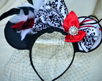 Ready to Ship Disney Bound Couture Cruella de Vil inspired statement piece mouse ears, a CKD exclusive limited edition Summer 2016