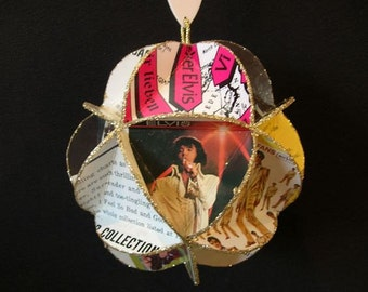 Elvis Presley Album Cover Ornament Made Of Repurposed Record Jackets