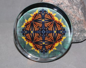 Monarch Butterfly Glass Paperweight Boho Chic Mandala New Age Sacred Geometry Hippie Kaleidoscope Unique Boss Gift Teacher Gift Masquerade