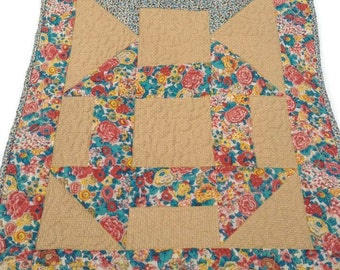 """Quilted Table Runner / Table Topper / Centerpiece Mat - Shades of Light Brown, Burnt Sienna, Turquoise, and Yellow – 15"""" wide x 39-1/2"""" long"""
