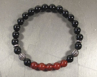 Men's Bracelet, 8mm Red Carnelian Gemstone Bead, Onyx, Pewter Spacer, Stimulating and Empowering Bracelet, Boho, Bohemian,  Bracelet For Men