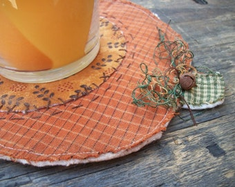 Primitive Fall Country Pumpkin Raggedy Thanksgiving Candle Mat