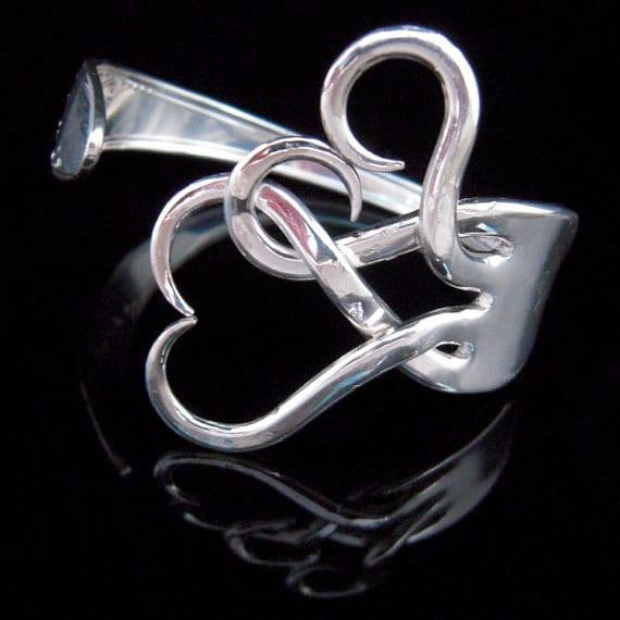 Silverware Jewelry - Fork Bracelet in Original Intertwining Hearts Design