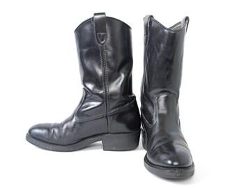 Vintage 90's black boots, black cowboy boots, black roper boots, steel toe boots, leather boots, men's size 7.5