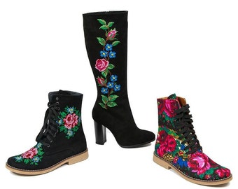 Urban Boots 3 Style Boots One Price Embroidery flower Shoes Flower Boots Custom made boots