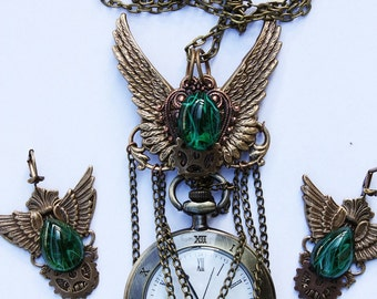 SALE Steampunk winged  pocket   watch  emerald gothic pendant