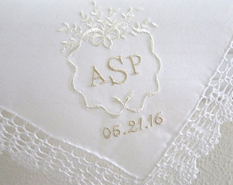 Wedding Monogram with Date on Crochet Lace Handkerchief