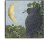 SUMMER Raven on 2-inch ceramic tile magnets, original design home decor kitchen magnets, corvid bird art, wildlife fantasy moon