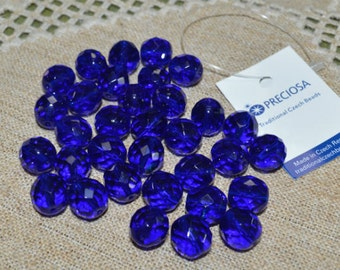 35pcs Fire-Polished Cobalt Blue 12mm Bead Czech Glass Faceted Round