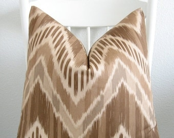 ON SALE Duralee Makeda 16x16 ikat zig zag brown throw pillow cover