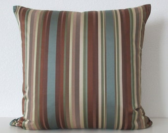 Striped Damask blue brown green decorative pillow cover