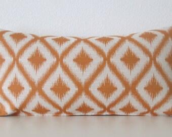 Ikat fret woven mango orange decorative pillow cover