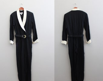 Vintage 80's black and ivory Classic Business Onesie Jumpsuit Pantsuit by Sheri Martin Petites