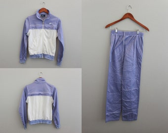 Vintage Womens Nike Sweatsuit Purple and White Medium track suit By Nike