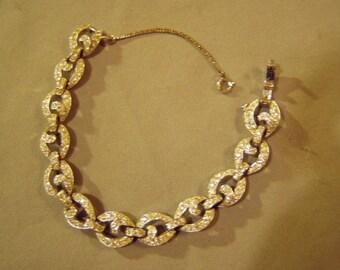 Vintage 1930s Art Deco Rhinestone Link Bracelet Rhodium Plated High Quality  8590