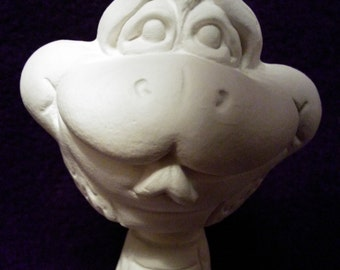 Silly snake bobble head-ceramic bisque-paint it yourself