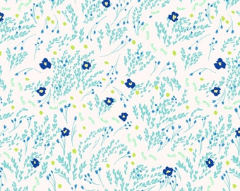 Flannel Fabric, Sea Foam Floral Flannel, Michael Miller Fabric by the Yard, Wee Wanderer, Cotton Fabric