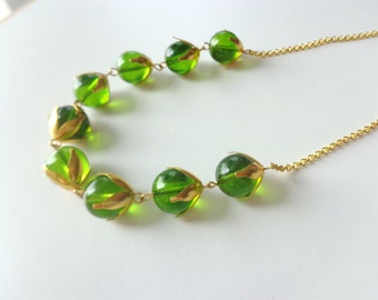 Gold green wheat necklace