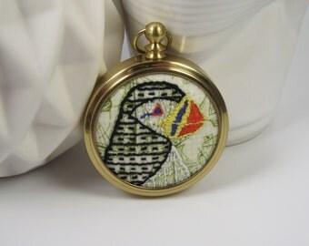 SALE! Puffin Birdseeker Embroidery. Miniature Brass Frame