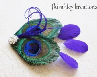 Purple Peacock Feather Hair Clip Headpiece Fascinator Rhinestone REGENCY GHEA Wedding Bride Bridesmaids Prom Party Gift Customizable