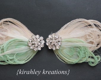 TARA in MINT - Champagne Ivory Peacock Bridal Bride Bridesmaid Wedding Shoes Shoe Clips Clip Mint Green Feather Veiling Rhinestones