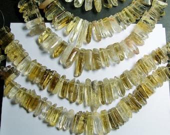 Quartz crystal points top drilled - 32 pcs mix size - full strand - lemon quartz - PSC210