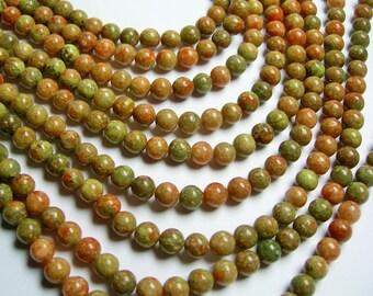 Autumn Jasper - 8 mm round beads -1 full strand - 49 beads - RFG852