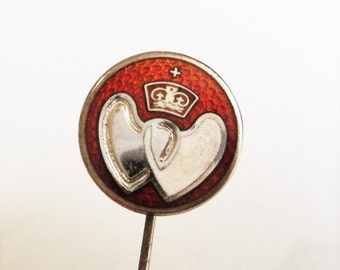 Vintage Sterling Enamel Lapel Pin... Red and White... Heart and Crown... Fattorini & Son