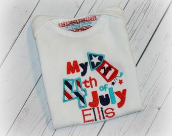 Patriotic My 1st 4th of July Stars and Stripes Boys or Girls Personalized Applique Name Bib, Shirt or Bodysuit Red, White Red, White, & Blue