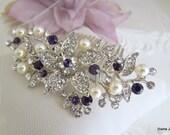 Bridal Purple Swarovski Crystal Wedding Comb,Wedding Hair Accessories,Vintage Style Purple Pearl Leaf Rhinestone Bridal Hair Comb,Clip,KATY