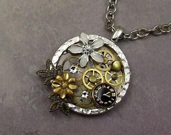 Steampunk Daisy Gear Necklace Stainless Round Steel Pocket Watch Plate Brass Gears